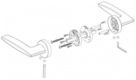 Ручка дверная на круглой розетке Armadillo Excalibur Urb4 Sn-3 Никель матовый
