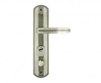 Ручка дверная на планке с фиксатором Нора-М 301-68 Мм Правая Хром матовый /Черный Никель