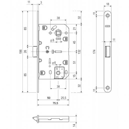 Agb B01102.50.22 Замок Межкомнатный Wc без отв. (Медь) Mediana Evolution