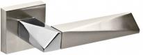 Ручка дверная на квадратной розетке Fuaro Diamond Dm Sn/Cp-3 Никель матовый/Хром