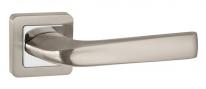 Ручка дверная на квадратной розетке Punto Saturn QR SN/CP-3 матовый никель/хром