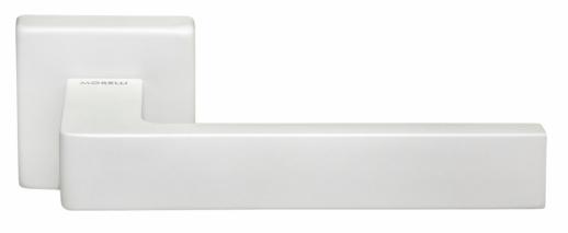 Ручка дверная на квадратной розетке Morelli Luxury, (Horizont/Горизонт) Bia  Белый