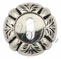 Накладка дверная под ключ буратино Venezia KEY-1 D5 натуральное серебро + черный