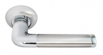 Дверные ручки RUCETTI RAP 2 SN/CP Белый никель/хром