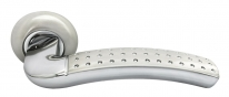 Дверные ручки RUCETTI RAP 7 SN/CP Белый никель/хром