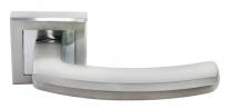 Ручка дверная на квадратной розетке Rucetti RAP 11-S SN/CP Белый никель/хром