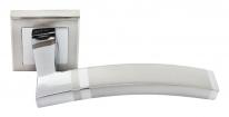Ручка дверная на квадратной розетке Rucetti RAP 13-S SN/CP Белый никель/хром