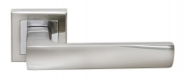 Ручка дверная на квадратной розетке Rucetti RAP 14-S SN/CP Белый никель/хром