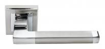 Ручка дверная на квадратной розетке Rucetti RAP 17-S SN/CP Белый никель/хром