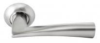 Дверные ручки RUCETTI RAP 18 SN/CP Белый никель/хром