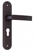 Ручка дверная на планке под цилиндр МЕТТЭМ для ЗВ4 НР0901 (плоская) медный антик