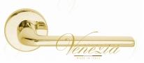 """Ручка дверная на круглой розетке Fratelli Cattini """"LINEA"""" 7-OLV Латунь блестящая"""