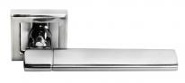 Ручка дверная на квадратной розетке Morelli DIY MH-21 SC/CP-S AGBAR Матовый хром/полированный хром