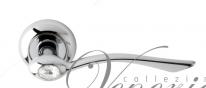 """Ручка дверная на круглой розетке Venezia Unique """"Helios Cristal"""" D9 Хром полированный"""