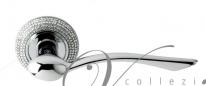 """Ручка дверная на круглой розетке Venezia Unique """"Helios Cristal"""" D10 Хром полированный / кристалы"""
