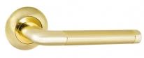 Ручка дверная на круглой розетке Punto Rex TL SG/GP-4 Золото матовое/золото 105 мм