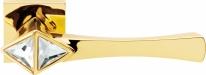 Ручка дверная на квадратной розетке Linea Cali COMETA 1290 RO 019 OZ полированное золото/кристаллы