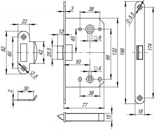 Защелка Fuaro (Фуаро) врезная PLASTIC P96WC-50 GP латунь