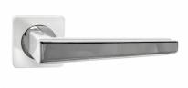 Ручка дверная на квадратной розетке RENZ Чиэра, Суп. белый/Хром блестящий