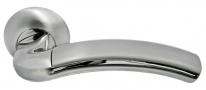 Ручка дверная на круглой розетке Morelli DIY MH-02 SN ПАЛАЦЦО - II белый никель/полированный хром