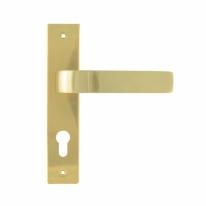 Ручка дверная на планке под цилиндр Нора-М 107-70 мм (Золото матовое)