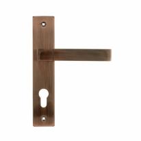 Ручка дверная на планке под цилиндр Нора-М 109-70 мм (Медь)