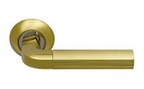 Ручка дверная на круглой розетке фалевая Archie Sillur 96, Золото матовое/Золото