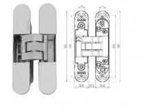 KUBICA 5080 DXSX, CR.SAT петля скрытая универсальная Матовый хром (80 kg)