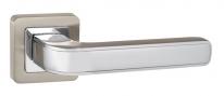 Ручка дверная на квадратной розетке Punto Nova QR SN/CP-3 матовый никель/хром