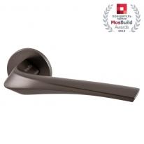 Ручка дверная на круглой розетке Armadillo FLAME URS BPVD-77 Вороненый никель