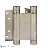 Дверная петля пружинная амортизирующая + тормоз ALDEGHI 148x42x50 мм никель ALD101