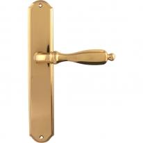 Дверная ручка на планке с фиксатором Melodia 298/131 Wc CAMILLA полированная латунь