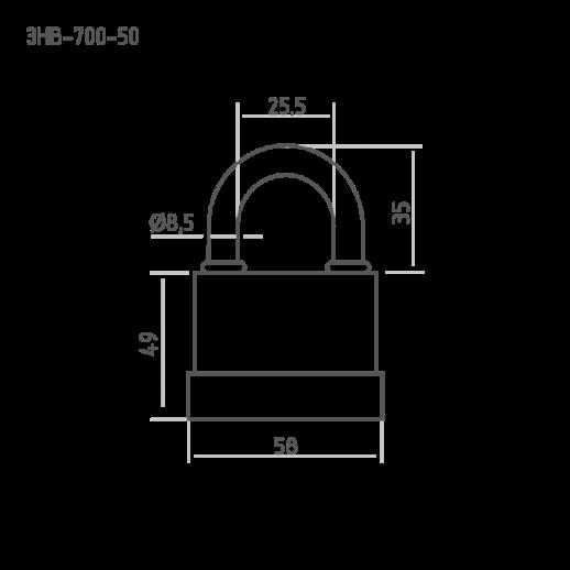 Замок навесной всепогодный Нора-М ЗНВ-700-50 (58мм)
